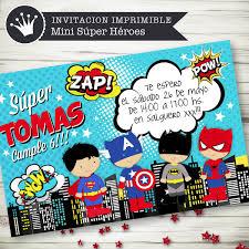 Invitacion Imprimible Digital Super Heroes Batman Spiderman