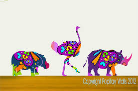 Kids Wall Decor Colorful Rhino Ostrich And Hippo Wall Decals On Luulla