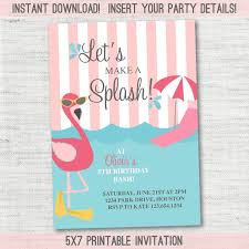 Flamingo Pool Party Invitation Instant Download Edita