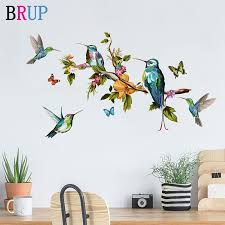 Big Discount 3579 Cartoon Hand Painted Parrot Bird Wall Stickers For Kids Room Living Room Wall Decal Baby Nursery Murals Home Decorations Decor Cicig Co