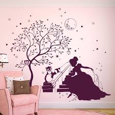 Wall Decal Princess Cinderella With Magic Tree Racoon Rabbit And Stars M1715 Wall Decals Bumper Sticker Murals Bags Cups Backpacks And Many More At Www Deinewandkunst Com