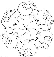 Mandala Olifant Knutselen Dieren Patronen Olifant Thema