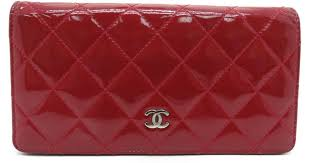 patent leather long wallet purse red