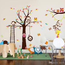 Forest Animal Monkey Owls Tree Wall Sticker For Kids Room Vinyl Elephant Wall Decal Bedroom Home Decor Mural Child Wall Stickers Children Wall Decals From Kity12 10 06 Dhgate Com