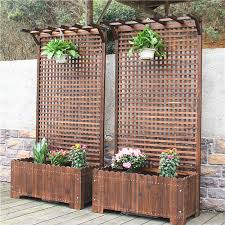 Wooden Fence Flower Pot Fence Climbing Climbing Climbing Vine Anti Corrosion Balcony Outdoor Carbonized Flower Box Grid Flower Trough Partition Flower Rack