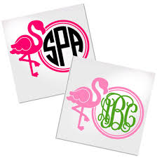 Flamingo Monogram Decal For Cup Car Or Laptop Decals By Adavis