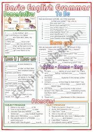 beginning english grammar worksheets