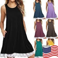 us summer women lace shirt dress scoop
