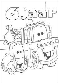 Kids N Fun Kleurplaat Cars Verjaardag Takel 6 Jaar