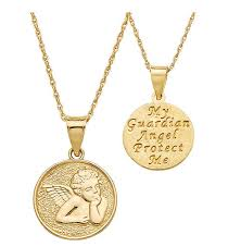 14k gold guardian angel necklace