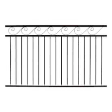 Gilpin Deco 6 Ft H X 6 Ft W Black Steel Flat Top Decorative Fence Panel In The Metal Fence Panels Department At Lowes Com