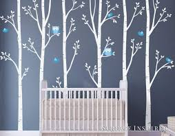 Amazon Com Nursery Wall Decals White Birch Trees With Owls Birds Wall Mural Stickers Nursery Tree Wall Decal From Surface Inspired 1077 Handmade