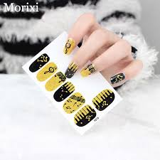 Nail Art Glitter Sticker 12tips Sheet Gold Black Mixed Color Music Symbol Designed Diy Full Cover 3d Nail Art Decal Ra004 Stickers Decals Aliexpress