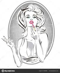 pin up fashion beautiful woman applying
