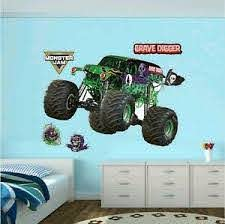 Monster Truck Grave Digger Wall Stickers Decal Boys Room Decor Christmas Present Ebay