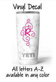 Damask Initial Monogram 3 Vinyl Decal Cup Size Sticker For Tumbler Wine Glass Ebay
