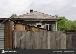 Old Wooden House Hidden High Fence Made Planks Village Summer Stock Photo C Alyamosurova 388515546