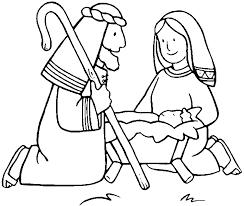 Kleurplaten Kleurplaat Kerst Kerkraam Jezus In Een Voederbak Met