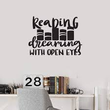 Reading Is Dreaming With Open Eyes Vinyl Art Wall Decal Book Quote Sticker Mural Ebay