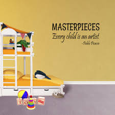 Masterpieces Every Child Is An Artist Pablo Picasso Vinyl Wall Decal Quote Xj403 Walmart Com Walmart Com