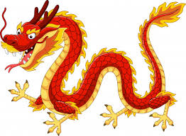 Cartoon red chinese dragon flying | Premium Vector