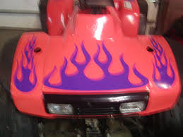 Atv Quad 4 Wheeler Flame Graphics Set