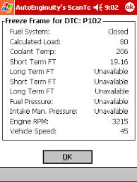 pocket pc automotive scan tool freeze frame