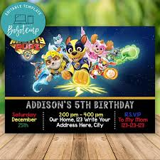 Editable Mighty Pups Paw Patrol Invitation Descarga Instantanea