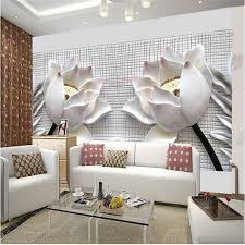 living room 3d wallpaper white flower