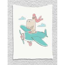 Kids Girls Tapestry Dinosaur Flying A Plane In Sky Cool Hipster Funny Boys Graphic Wall Hanging For Bedroom Living Room Dorm Decor 60w X 80l Inches Turquoise Eggshell Coral By Ambesonne