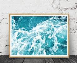 ocean water print beach decor wall art