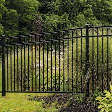 Freedom Actual 4 53 Ft X 7 89 Ft Heavy Duty New Haven Black Aluminum Flat Top Decorative Metal Fence Panel Lowes Com In 2020 Metal Fence Panels Metal Fence Fence Panels