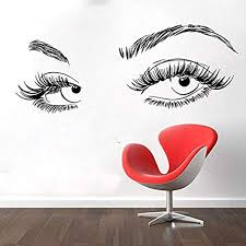 Amazon Com Eyelash Decals Wall Decal Window Sticker Beauty Salon Woman Face Eyelashes Lashes Eyebrows Brows Skgmi89 Home Kitchen