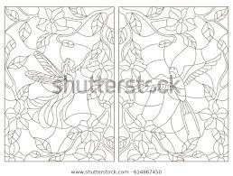 set contour ilrations stained glass