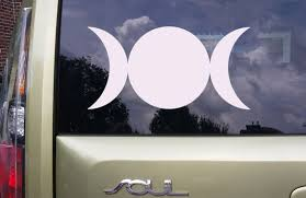 Car Decal Triple Moon Goddess Solid Vinyl Decal Wiccan Etsy