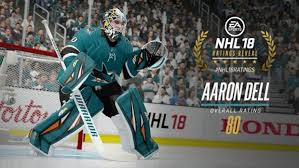 Sharks goalie Aaron Dell had a fantastic reaction to his NHL 18 ...