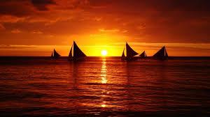 ocean sunset boat wallpaper 44790