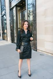 blogging leather pencil skirt