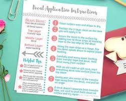 Decal Application Instructions Care Card Printable Care Card Etsy