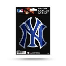New York Yankees Metallic Die Cut Decal New 5 X 5 Window Car Or Laptop Hub City Sports