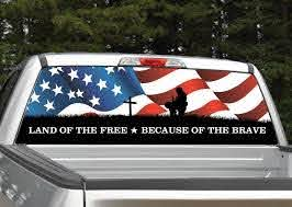 Fallen Warrior American Flag Rear Window Graphic Miller Graphics
