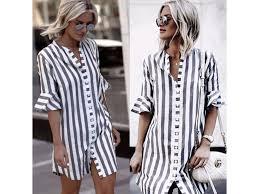 Pruhované košilové šaty Lisa - FashionFashion