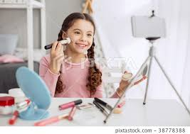 cute filming makeup tutorial with