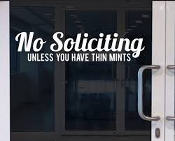 No Soliciting Store Business Funny Thin Mints Home Sign Vinyl Decal For Door Window Wall Etc Store Decals