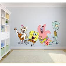 Spongebob Squarepants Complete Cast Happy Wall Graphic Decal Sticker Sticker Mural Baby Kids Room Bedroom Nursery Kindergarten House Home Design Wall Art Decor Removable Peel And Stick 30x15 Inch Walmart Com