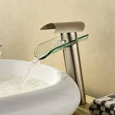bathroom sink faucet waterfall nickel