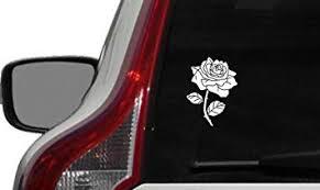 Amazon Com Flower Rose Version 6 Car Vinyl Sticker Decal Bumper Sticker For Auto Cars Trucks Windshield Custom Walls Windows Ipad Macbook Laptop And More White Automotive