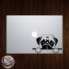 Pug Peek A Boo Car Computer Vinyl Decal Etsy