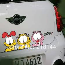 Peeking Serious Cartoon Garfield Onlooks Car Styling Car Stickers Funny For Lada Cars Tail Acessories Car Decoration F Car Stickers Funny Car Stickers Garfield