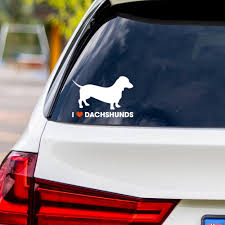 I Love Dachshunds Vinyl Car Sticker Dog Days